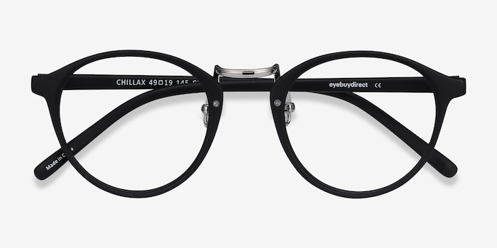 Chillax Matte Black/Silver Plastic Eyeglass Frames from EyeBuyDirect, Closed View