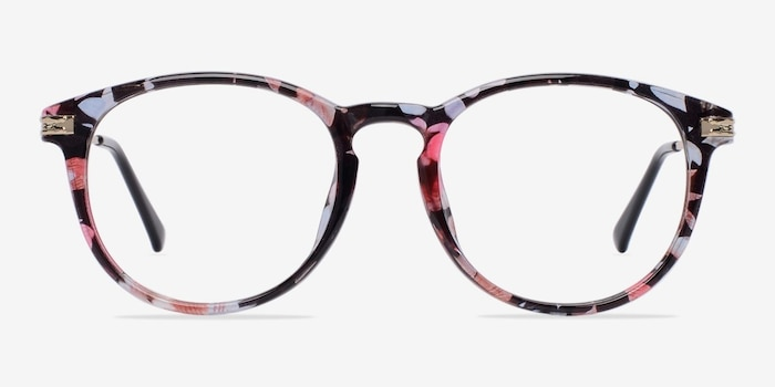 Muse Blue Floral Plastic Eyeglass Frames from EyeBuyDirect, Front View
