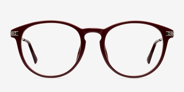 Muse Red Plastic Eyeglass Frames from EyeBuyDirect, Front View