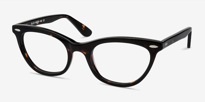Ellie Tortoise Acetate Eyeglass Frames from EyeBuyDirect, Angle View
