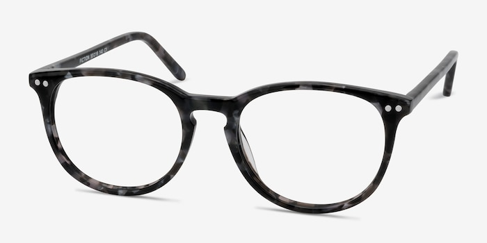 Fiction Gray/Floral Acetate Eyeglass Frames from EyeBuyDirect, Angle View