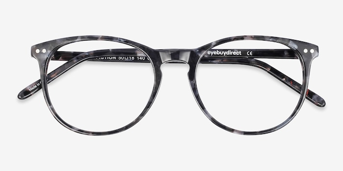 Fiction Gray/Floral Acetate Eyeglass Frames from EyeBuyDirect, Closed View