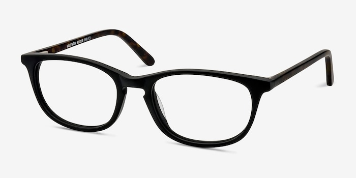 Valentin Matte Black Acetate Eyeglass Frames from EyeBuyDirect, Angle View