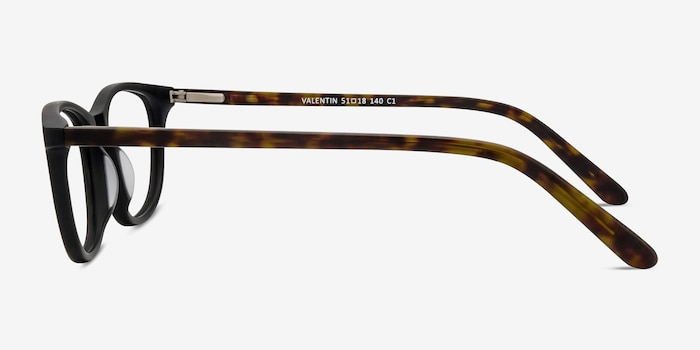 Valentin Matte Black Acetate Eyeglass Frames from EyeBuyDirect, Side View