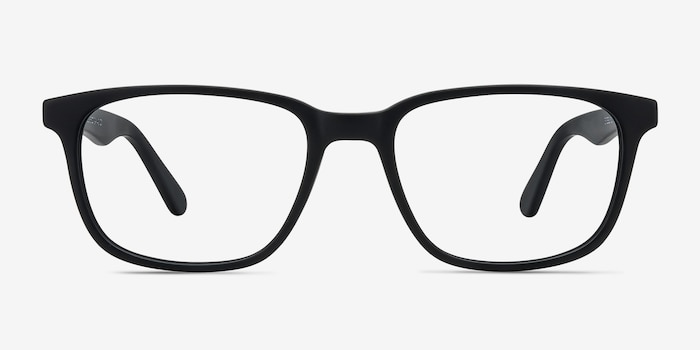 Bristol Matte Black Acetate Eyeglass Frames from EyeBuyDirect, Front View