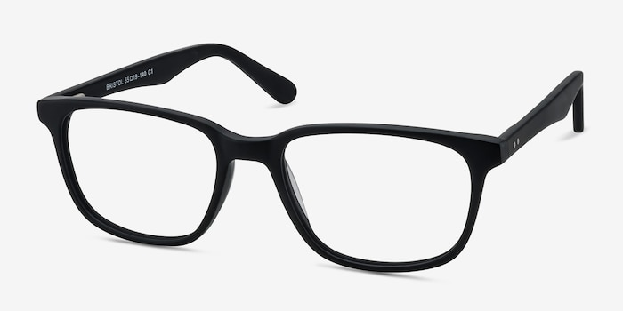 Bristol Matte Black Acetate Eyeglass Frames from EyeBuyDirect, Angle View