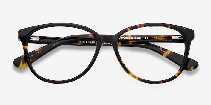 Hepburn Tortoise Plastic Eyeglass Frames from EyeBuyDirect, Closed View