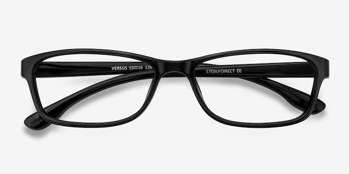 Versus  Black  Plastic Eyeglass Frames from EyeBuyDirect, Closed View