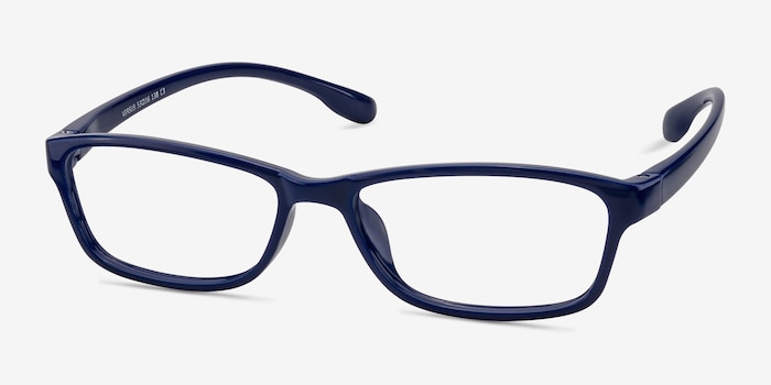 Versus  Navy  Plastic Eyeglass Frames from EyeBuyDirect, Angle View