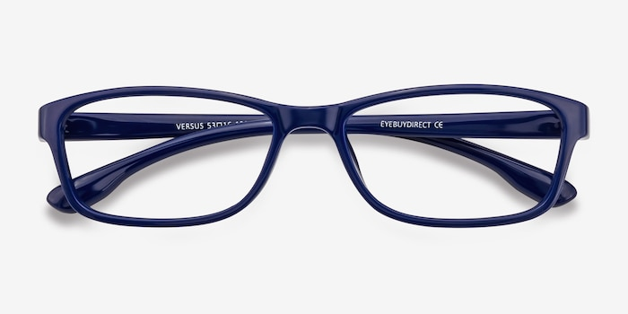 Versus  Navy  Plastic Eyeglass Frames from EyeBuyDirect, Closed View