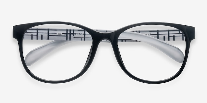Warren  Black  Plastic Eyeglass Frames from EyeBuyDirect, Closed View