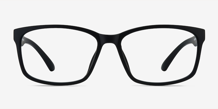 Boston Matte Black Plastic Eyeglass Frames from EyeBuyDirect, Front View