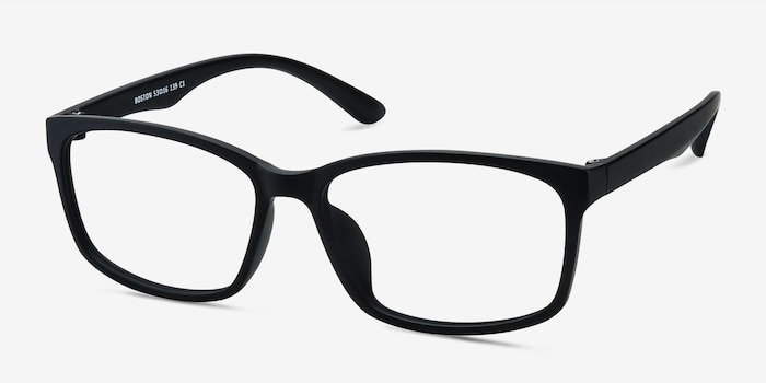 Boston Matte Black Plastic Eyeglass Frames from EyeBuyDirect, Angle View
