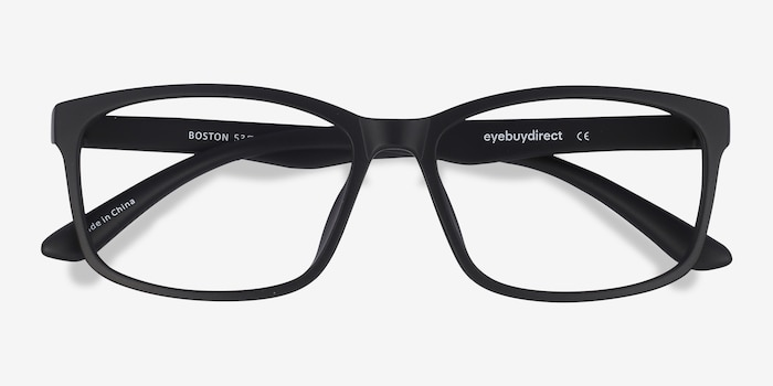 Boston Matte Black Plastic Eyeglass Frames from EyeBuyDirect, Closed View