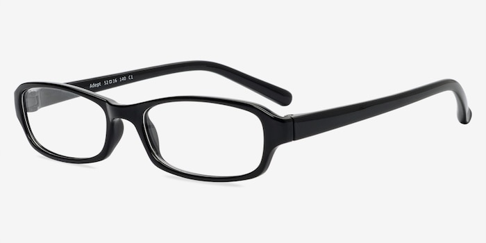 Adept  Black  Plastic Eyeglass Frames from EyeBuyDirect, Angle View