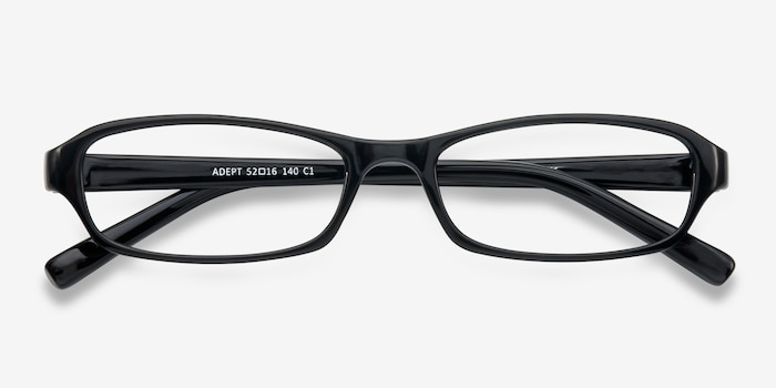 Adept  Black  Plastic Eyeglass Frames from EyeBuyDirect, Closed View