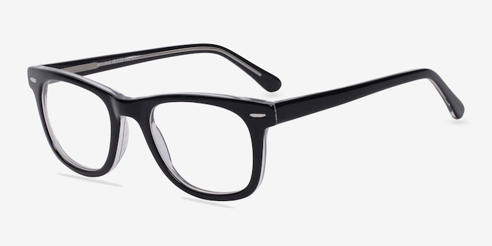 Blizzard  Black  Acetate Eyeglass Frames from EyeBuyDirect, Angle View