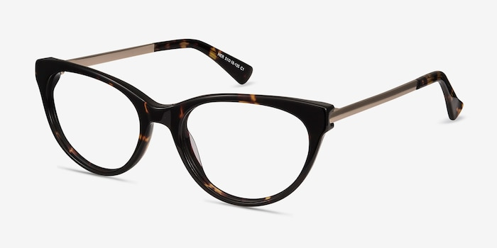 Her Tortoise Acetate Eyeglass Frames from EyeBuyDirect, Angle View