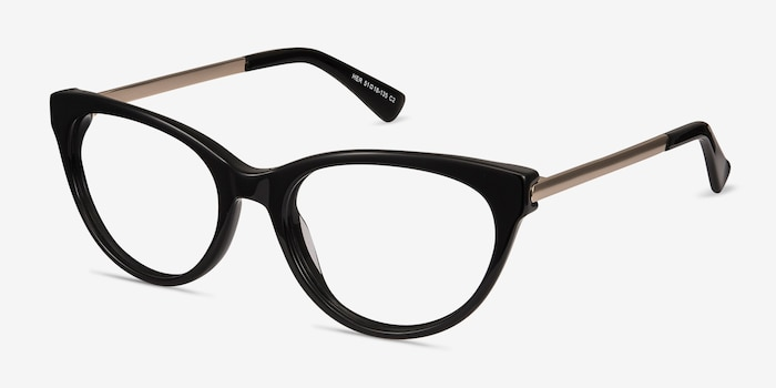 Her Black Acetate Eyeglass Frames from EyeBuyDirect, Angle View