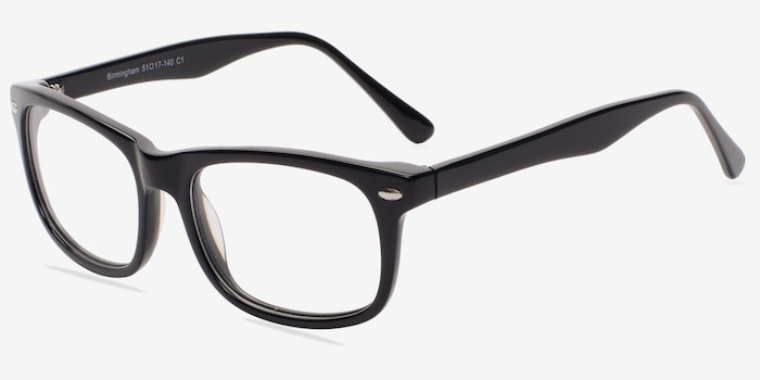 Birmingham Black Acetate Eyeglass Frames from EyeBuyDirect, Angle View