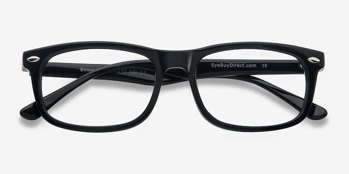 Birmingham Black Acetate Eyeglass Frames from EyeBuyDirect, Closed View