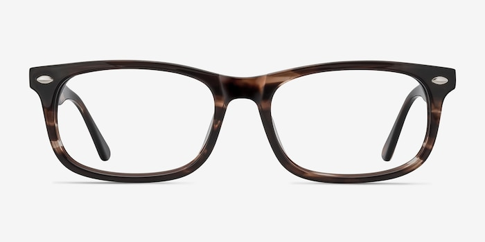 Birmingham Coffee Acetate Eyeglass Frames from EyeBuyDirect, Front View