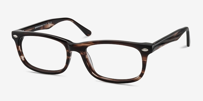Birmingham Coffee Acetate Eyeglass Frames from EyeBuyDirect, Angle View