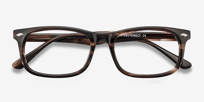 Birmingham Coffee Acetate Eyeglass Frames from EyeBuyDirect, Closed View