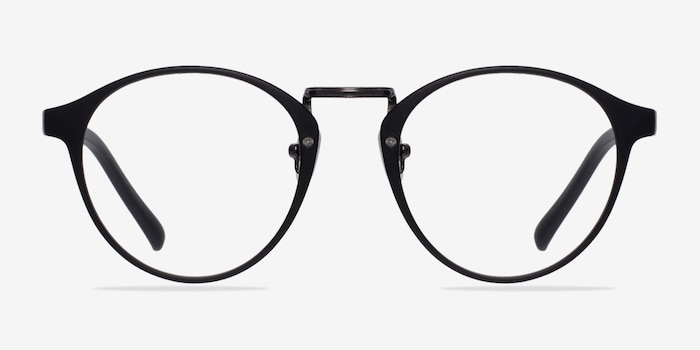 Small Chillax Matte Black/Gunmetal Plastic Eyeglass Frames from EyeBuyDirect, Front View