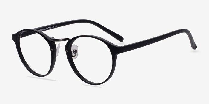 Small Chillax Matte Black/Gunmetal Plastic Eyeglass Frames from EyeBuyDirect, Angle View