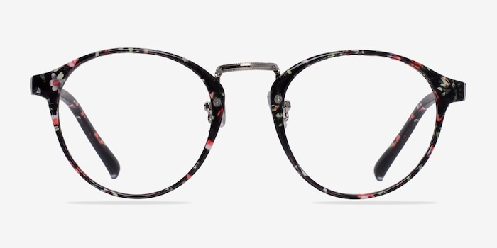 Small Chillax Red/Floral Plastic Eyeglass Frames from EyeBuyDirect, Front View