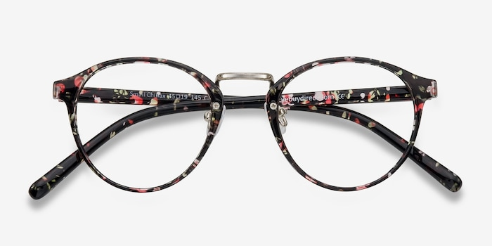 Small Chillax Red/Floral Plastic Eyeglass Frames from EyeBuyDirect, Closed View