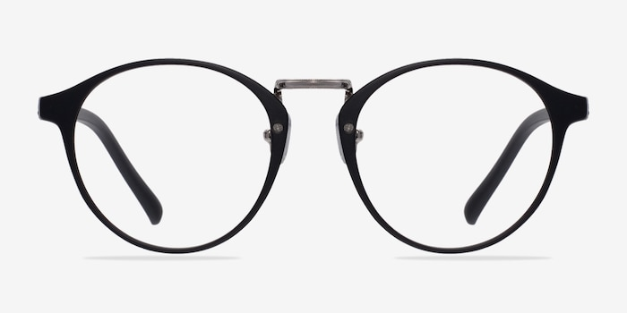 Small Chillax Matte Black/Silver Plastic Eyeglass Frames from EyeBuyDirect, Front View
