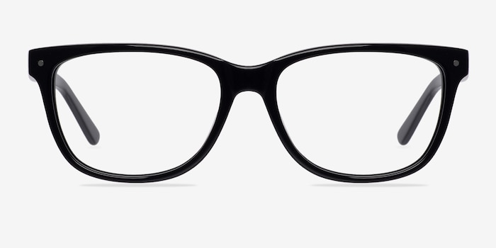 Allure Black Acetate Eyeglass Frames from EyeBuyDirect, Front View