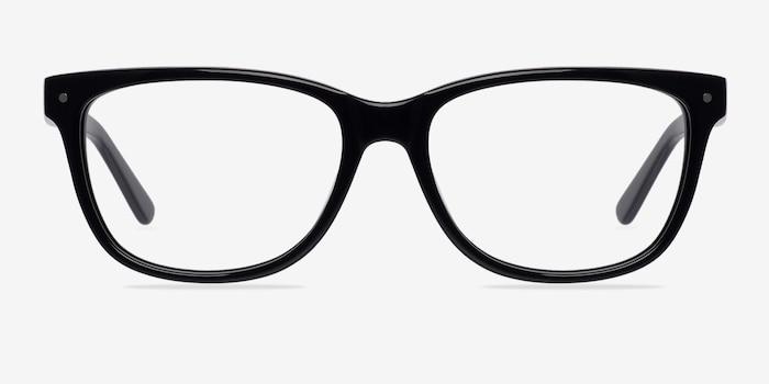 Allure Noir Acétate Montures de Lunettes d'EyeBuyDirect, Vue de Face