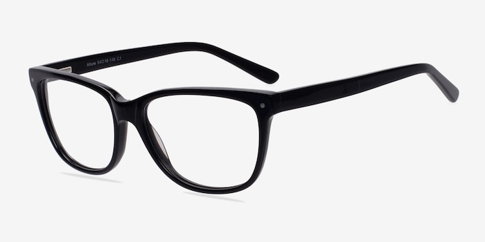Allure Black Plastic Eyeglass Frames from EyeBuyDirect, Angle View
