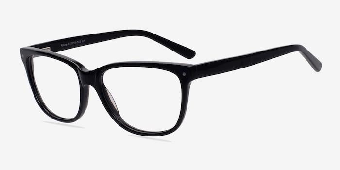 Allure Noir Acétate Montures de Lunettes d'EyeBuyDirect, Vue d'Angle