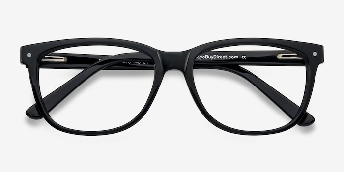 Allure Black Plastic Eyeglass Frames from EyeBuyDirect, Closed View
