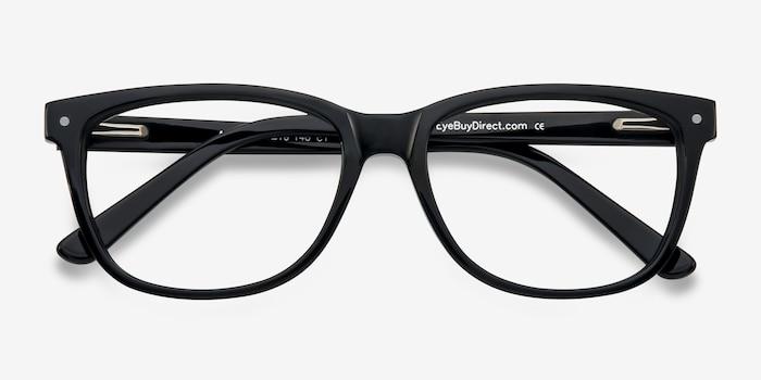 Allure Noir Acétate Montures de Lunettes d'EyeBuyDirect, Vue Rapprochée