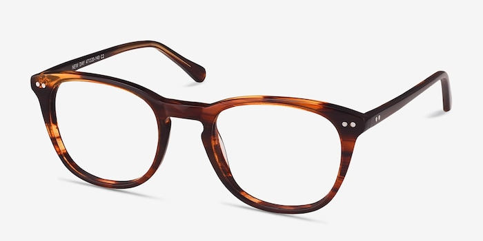 New Day Brown Acetate Eyeglass Frames from EyeBuyDirect, Angle View