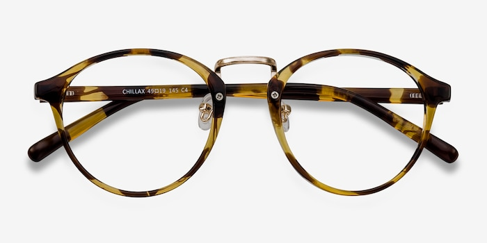 Chillax Tortoise Metal Eyeglass Frames from EyeBuyDirect, Closed View