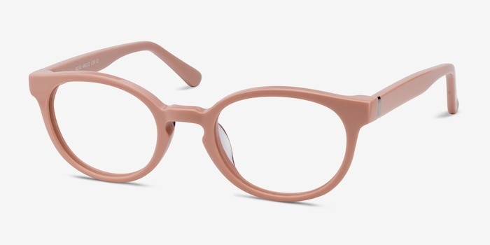 Rose Pink Acetate Eyeglass Frames from EyeBuyDirect, Angle View