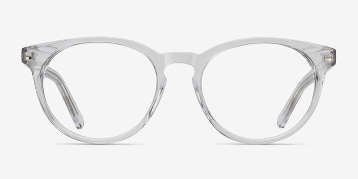 Morning Clear/White Acetate Eyeglass Frames from EyeBuyDirect, Front View