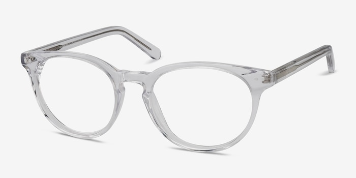 Morning Clear/White Acetate Eyeglass Frames from EyeBuyDirect, Angle View