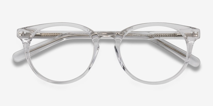 Morning Clear/White Acetate Eyeglass Frames from EyeBuyDirect, Closed View