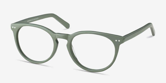 Morning Green Acetate Eyeglass Frames from EyeBuyDirect, Angle View