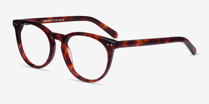 Morning Tortoise Acetate Eyeglass Frames from EyeBuyDirect, Angle View