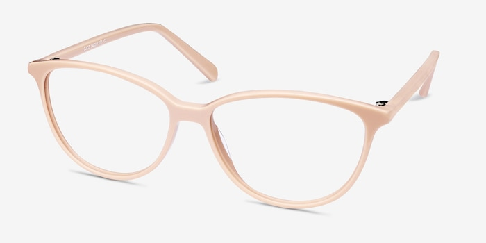 Coco Light pink Acetate Eyeglass Frames from EyeBuyDirect, Angle View