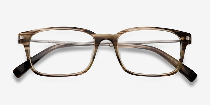 Dreamer Brown/Striped Acetate Eyeglass Frames from EyeBuyDirect, Closed View