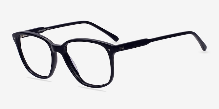 Lisbon Navy Acetate Eyeglass Frames from EyeBuyDirect, Angle View
